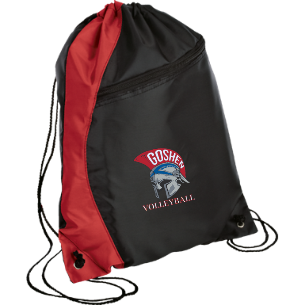 Drawstring Bag with Zippered Pocket - Goshen Volleyball