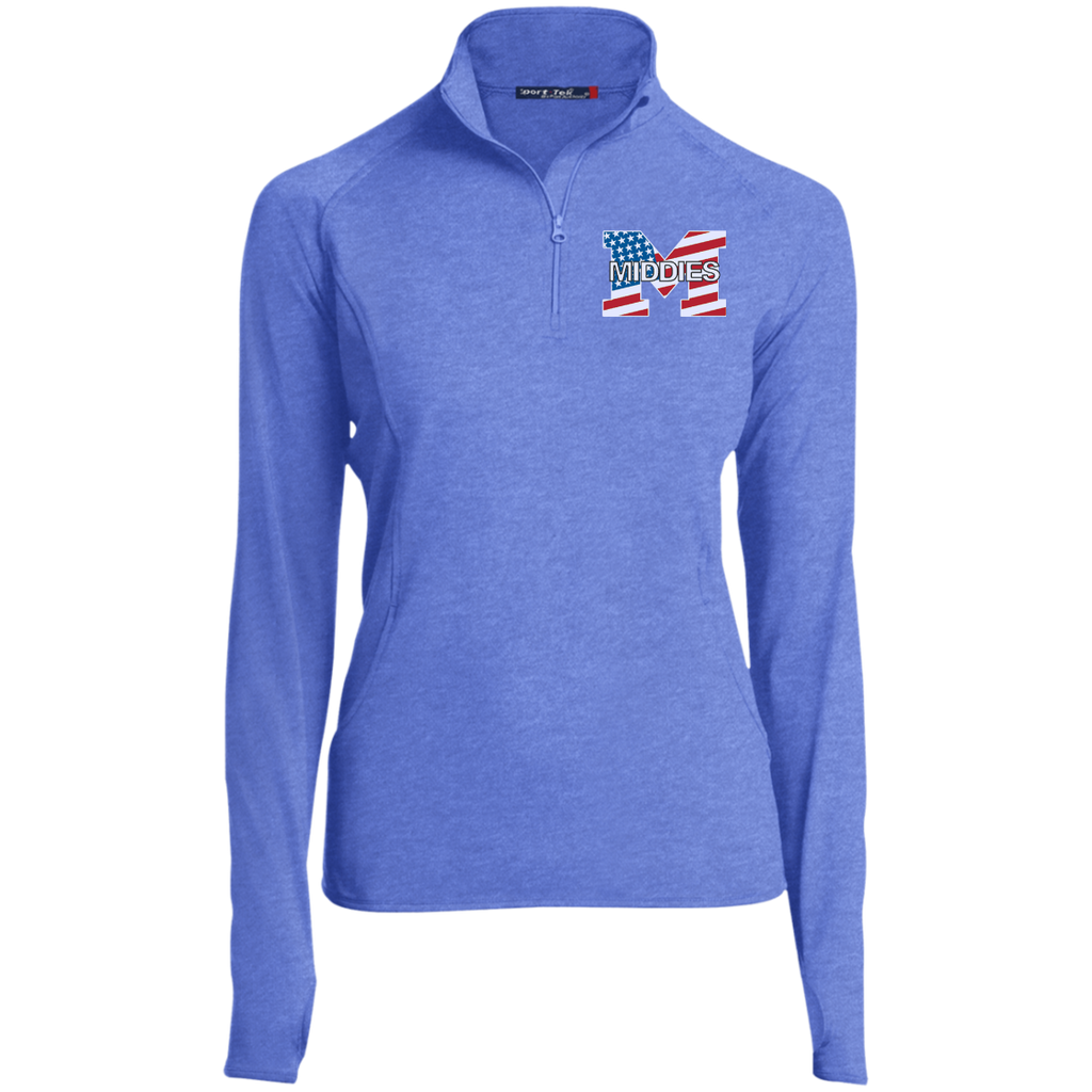 Women's Performance Quarter Zip Sweatshirt - Middletown American Flag