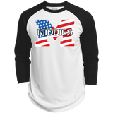 3/4 Sleeve Baseball T-Shirt - Middletown American Flag