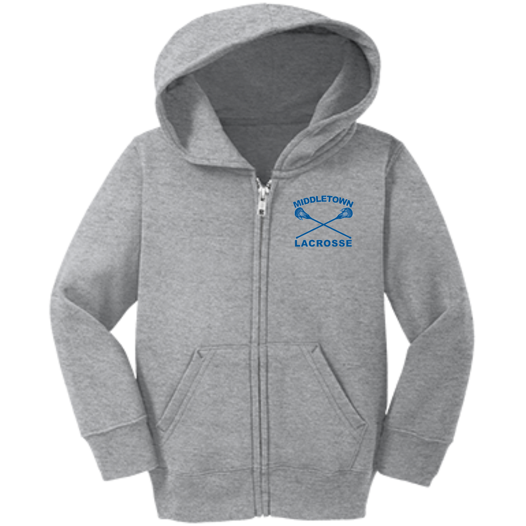 Toddler Full-Zip Hooded Sweatshirt - Middletown Girls Lacrosse - Sticks Logo