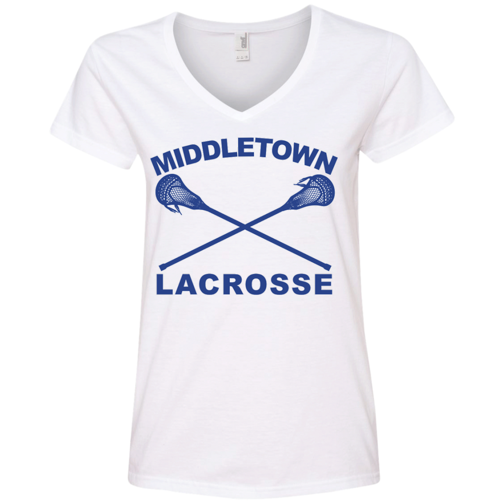 Women's V-Neck T-Shirt - Middletown Girls Lacrosse - Sticks Logo