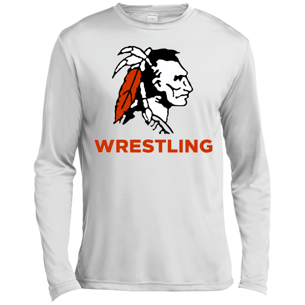 Men's Moisture Wicking Long Sleeve T-Shirt - Cambridge Wrestling - Indian Logo