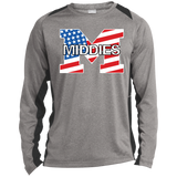Heather Colorblock Long Sleeve T-Shirt - Middletown American Flag