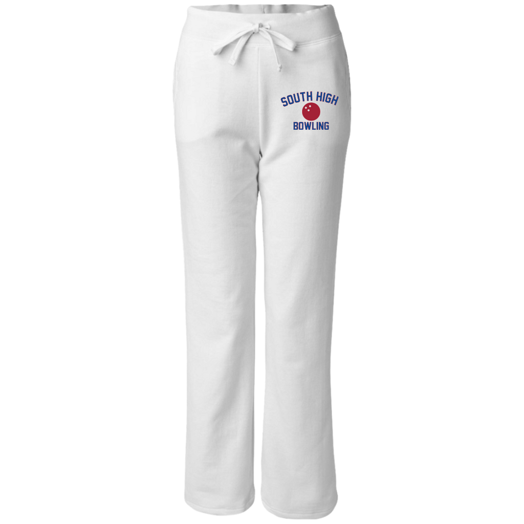 Bowling Vector Logo Outline_Pantone G184FL Gildan Women's Open Bottom Sweatpants with Pockets