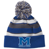 Striped Pom Pom Knit Winter Hat - Middletown