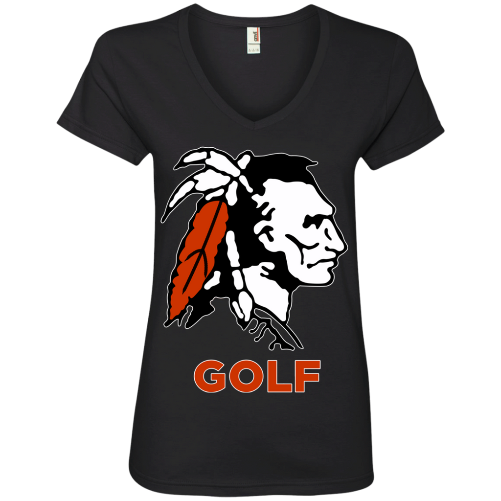 Women's V-Neck T-Shirt - Cambridge Golf - Indian Logo