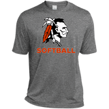 Men's Heather Moisture Wicking T-Shirt - Cambridge Softball - Indian Logo