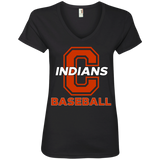 Women's V-Neck T-Shirt - Cambridge Baseball - C Logo