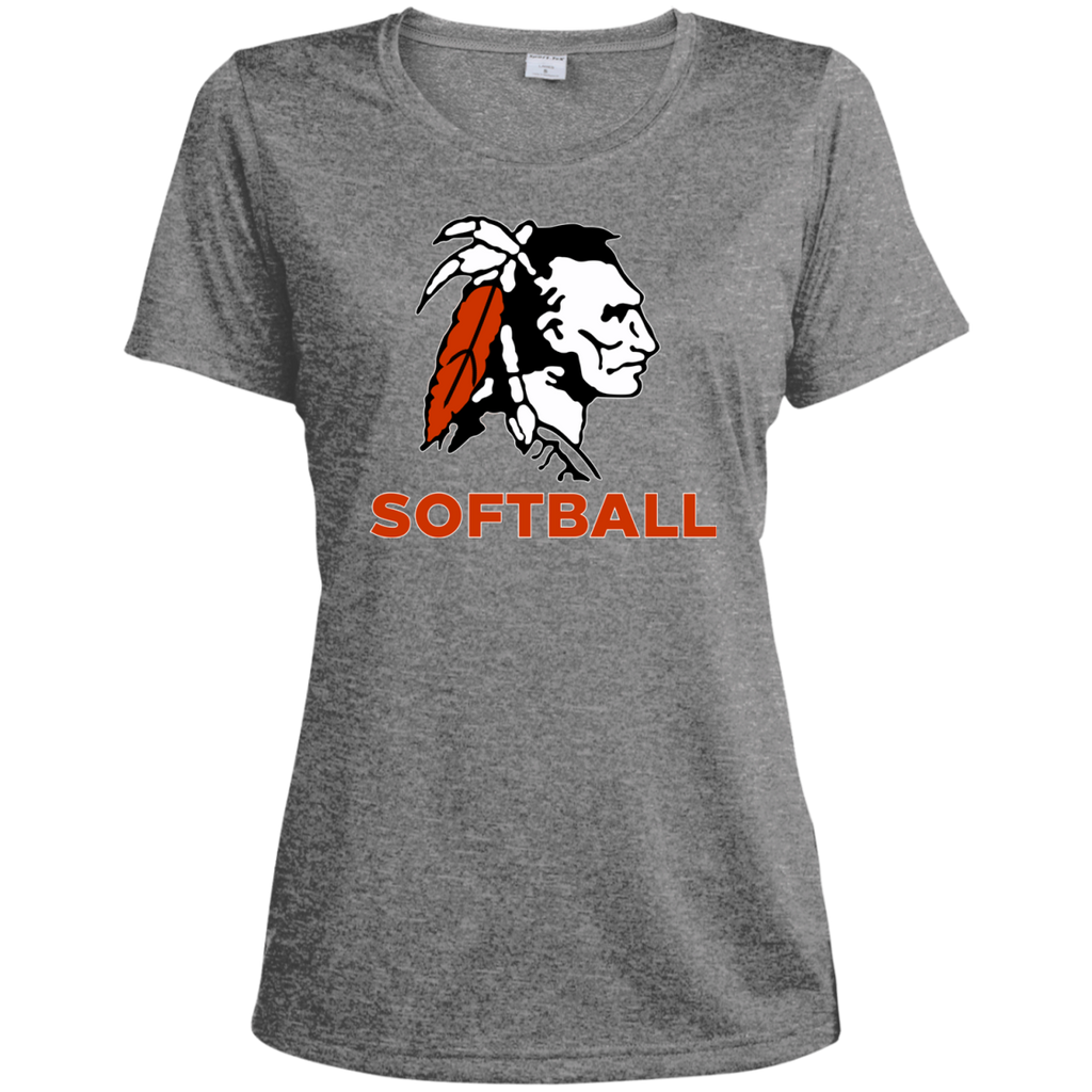Women's Heather Moisture Wicking T-Shirt - Cambridge Softball - Indian Logo