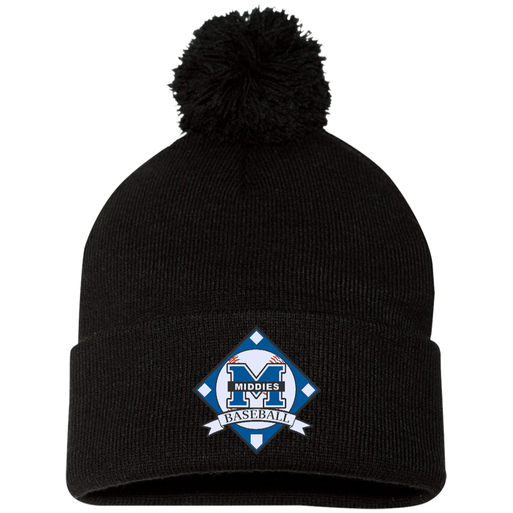 Pom Pom Knit Winter Hat - Middletown Baseball - Diamond Logo