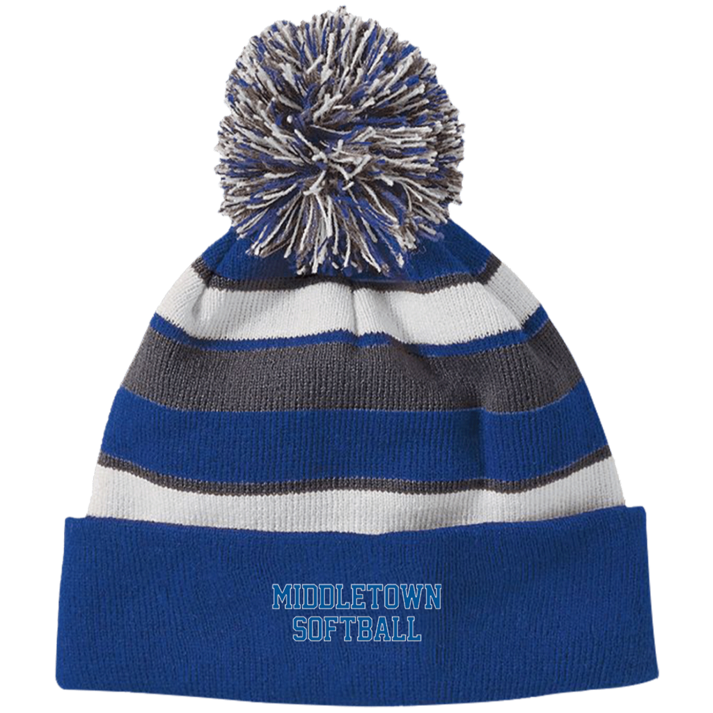 Striped Pom Pom Knit Winter Hat - Middletown Softball - Block Logo