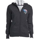 Women's Full-Zip Hooded Sweatshirt - Goshen American Flag