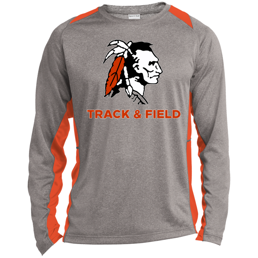Heather Colorblock Long Sleeve T-Shirt - Cambridge Track & Field - Indian Logo