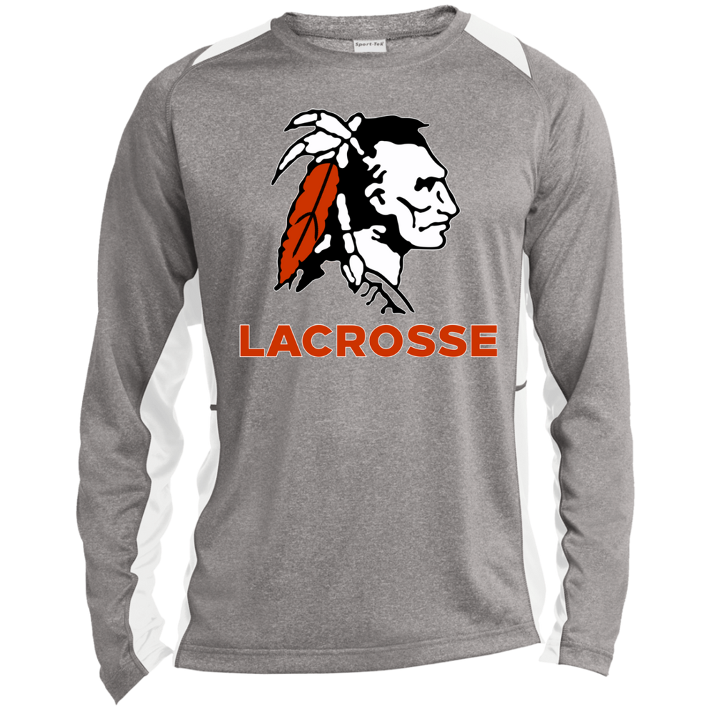 Heather Colorblock Long Sleeve T-Shirt - Cambridge Lacrosse - Indian Logo