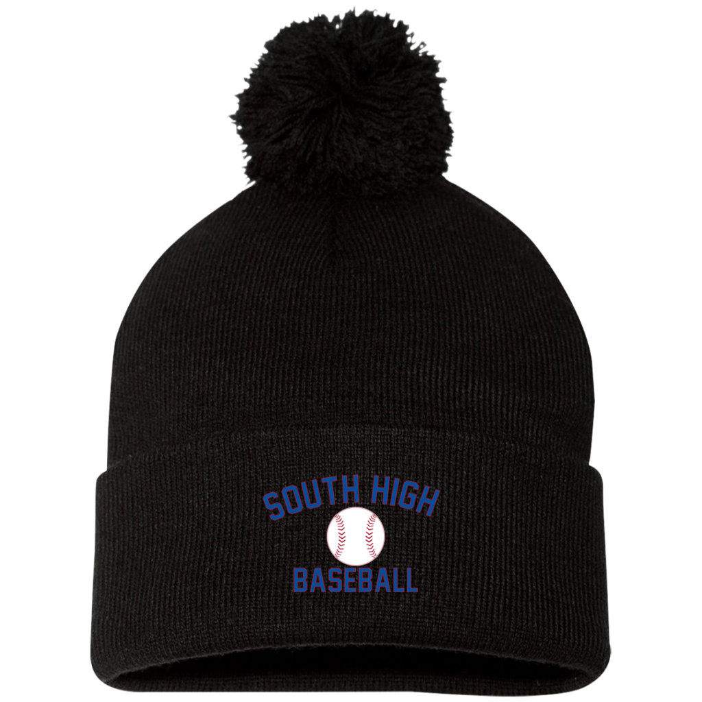 Pom Pom Knit Winter Hat - South Glens Falls Baseball