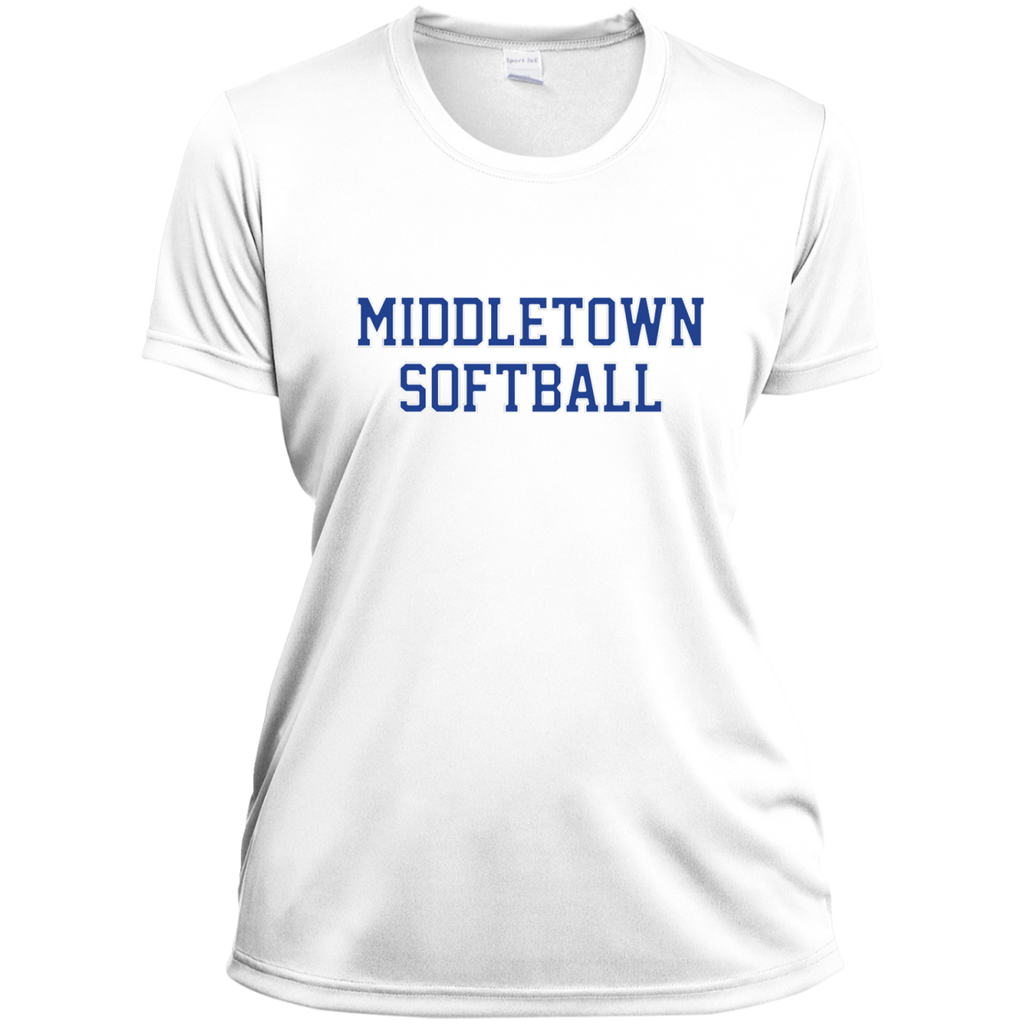 Women's Moisture Wicking T-Shirt - Middletown Softball - Block Logo