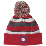 Basketball Vector Logo Outline_Pantone 223835 Holloway Striped Beanie with Pom