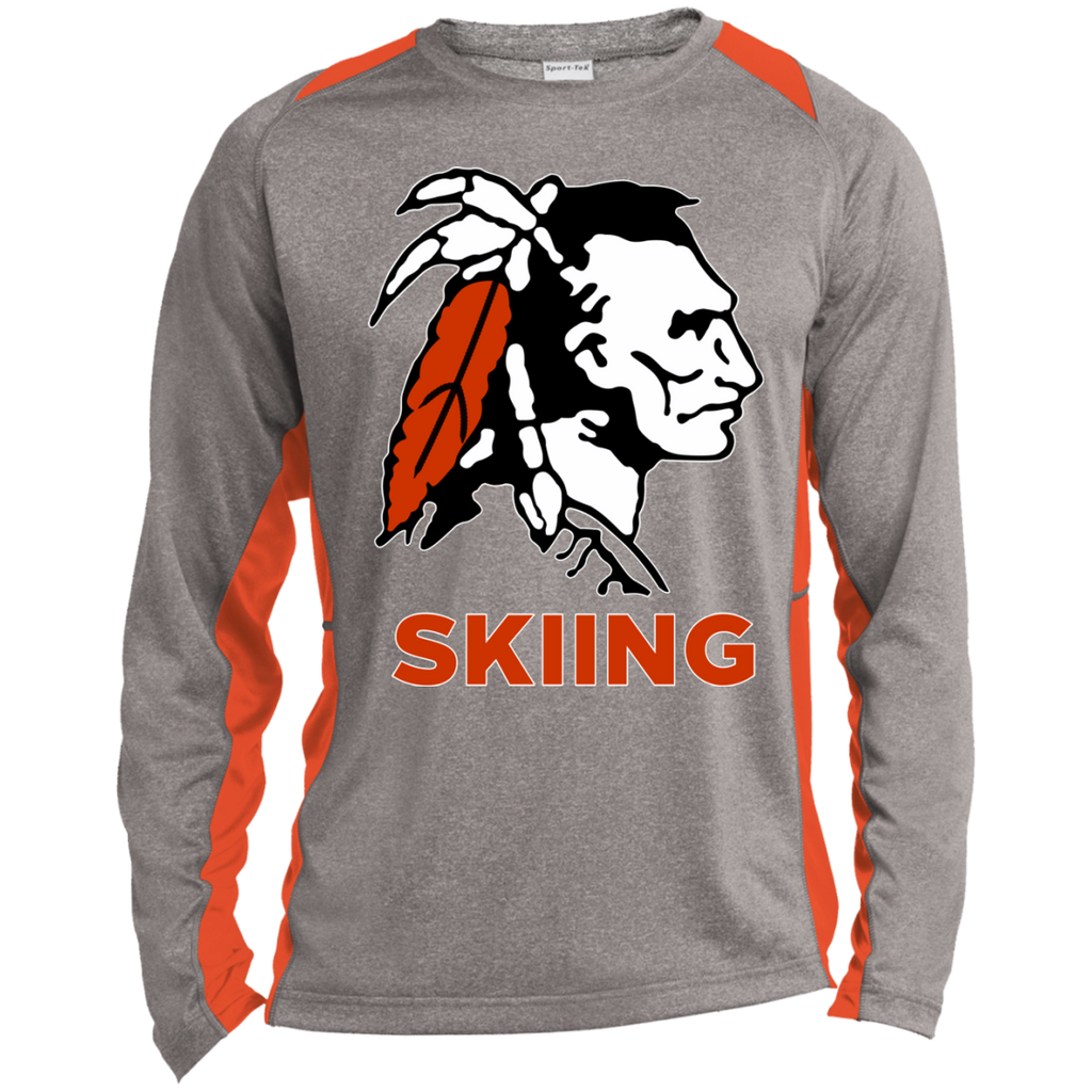 Heather Colorblock Long Sleeve T-Shirt - Cambridge Skiing - Indian Logo