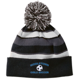 Striped Pom Pom Knit Winter Hat - Middletown Girls Soccer