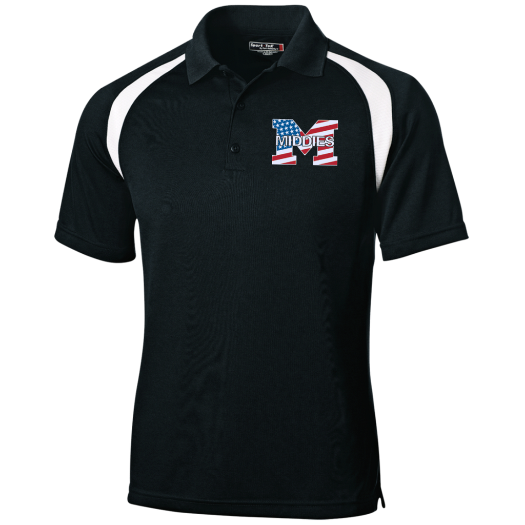 Men's Colorblock Slim Fit Moisture Wicking Polo - Middletown American Flag