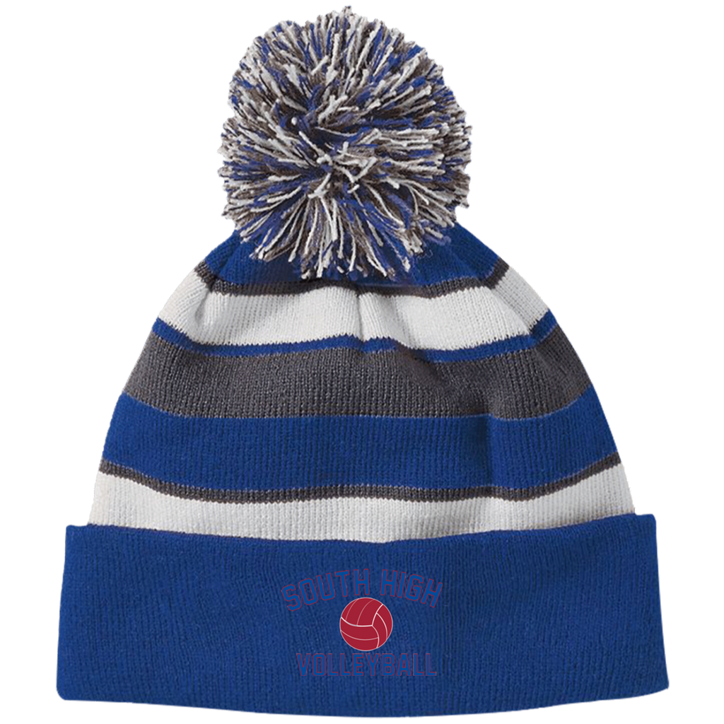Striped Pom Pom Knit Winter Hat - South Glens Falls Volleyball