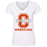 Women's V-Neck T-Shirt - Cambridge Wrestling - C Logo