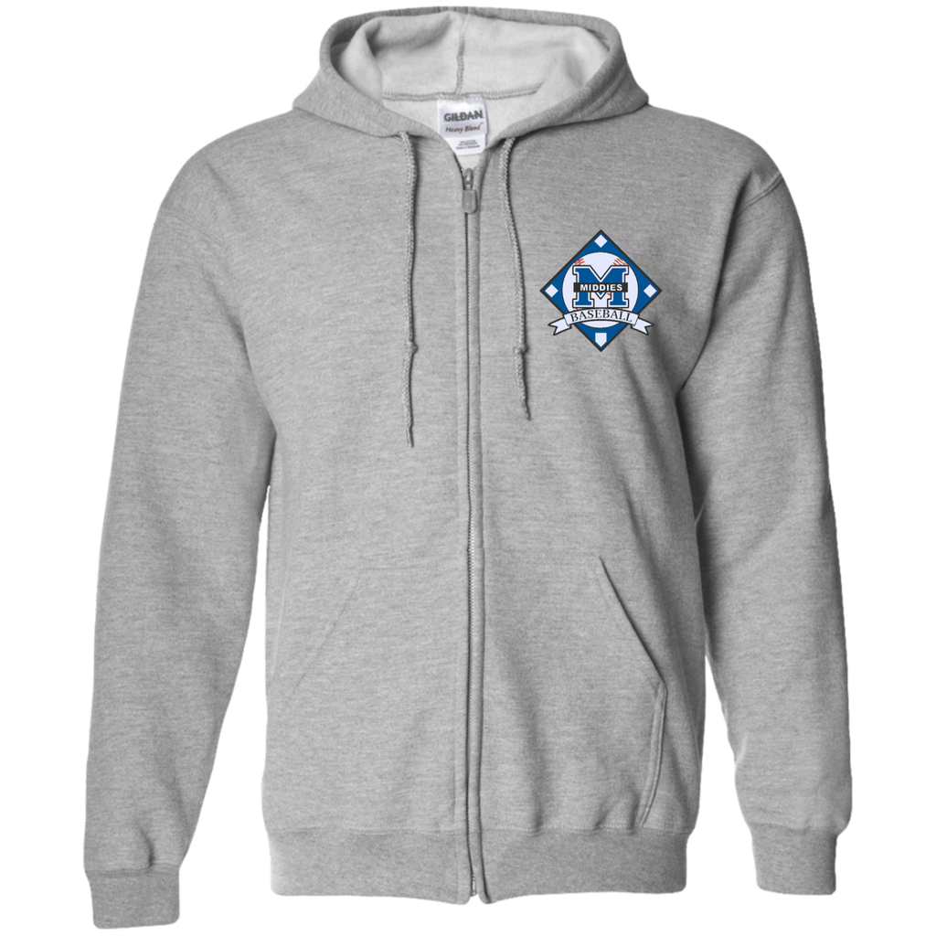 Men's Full-Zip Hooded Sweatshirt - Middletown Baseball - Diamond Logo
