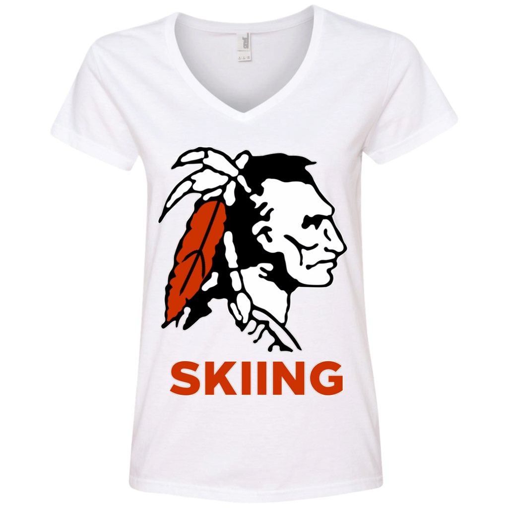 Women's V-Neck T-Shirt - Cambridge Skiing - Indian Logo