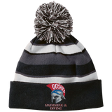 Striped Pom Pom Knit Winter Hat - Goshen Swimming & Diving