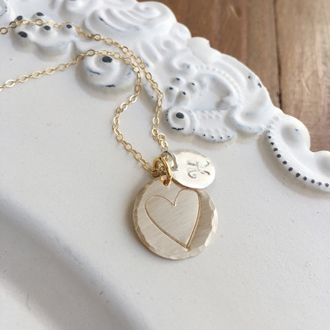 Silver & Gold Heart & Initial