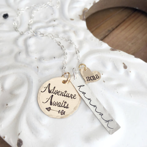 Adventure Awaits Graduation Necklace