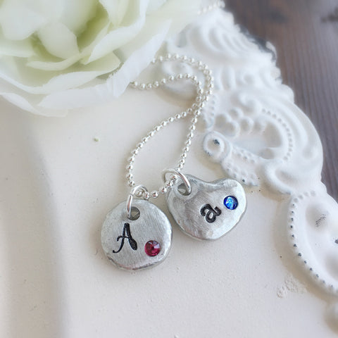 Chunky Birthstone & Initial Necklace