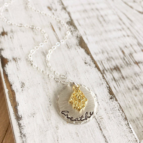 Hamsa Breathe Yoga Necklace