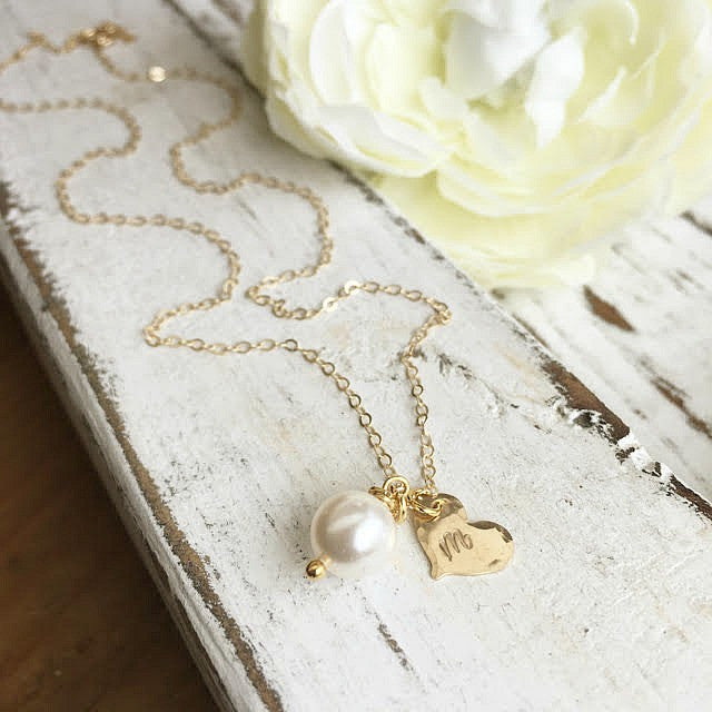 Gold Tiny Initial Heart & Pearl