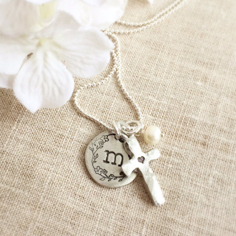 Cross & Floral Wreath Initial Necklace