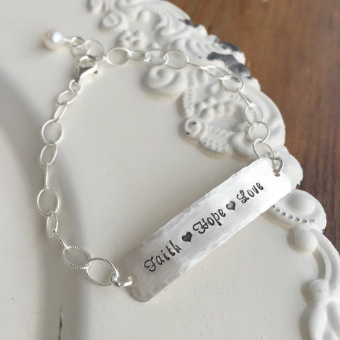 Faith Hope Love Silver Bracelet