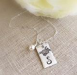 Mini Floral Initial Necklace