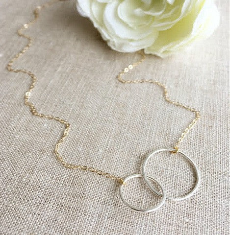 Two Tone Circle Link Necklace