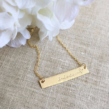 Gold Name Bar Necklace
