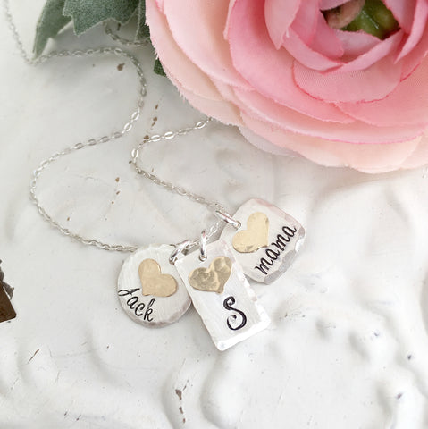 Silver and Gold Heart Charms