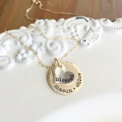 Mini Silver & Gold Mothers Necklace