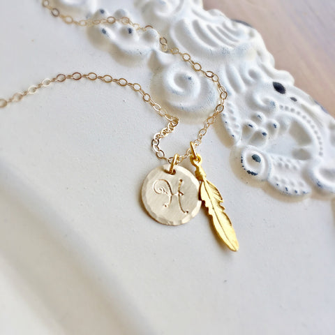 Boho Initial & Feather