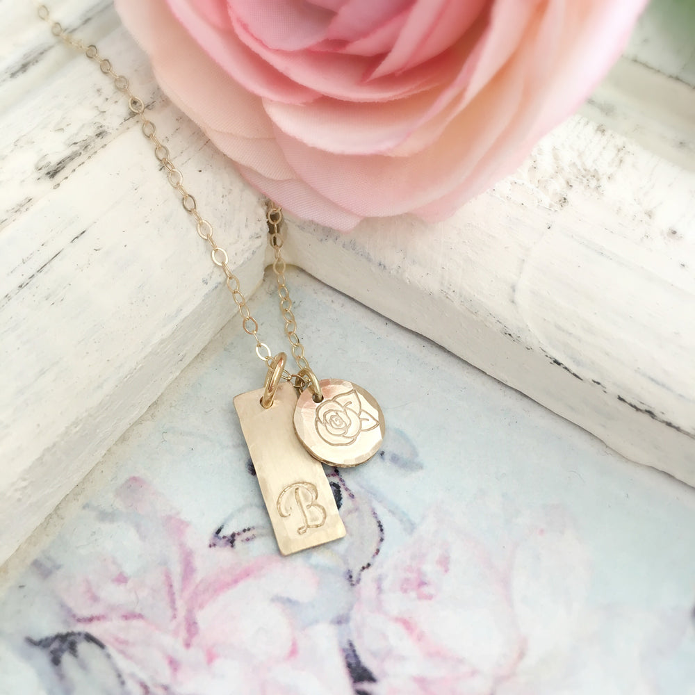 Initial & Rose Necklace