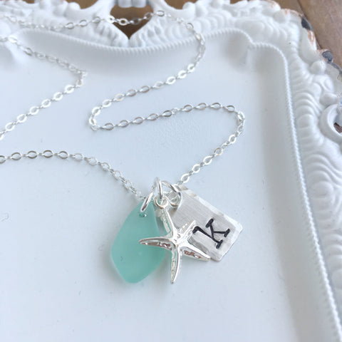 Starfish & Beach Glass Initial Necklace