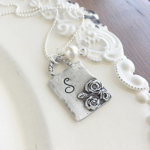 Roses Initial Necklace