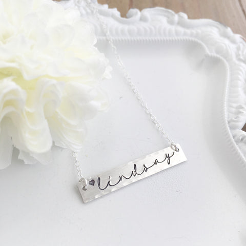 Lindsay Script Bar Necklace