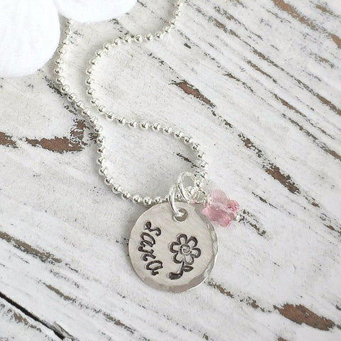 Little Girl Flower & Name Necklace