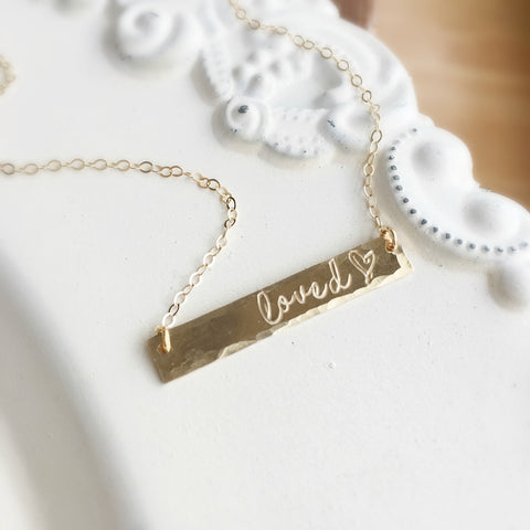 Loved Gold Bar Necklace