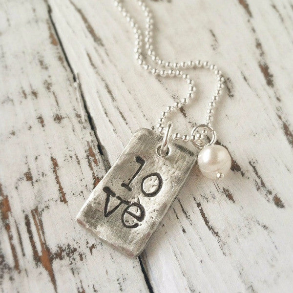 LOVE Rectangle Necklace