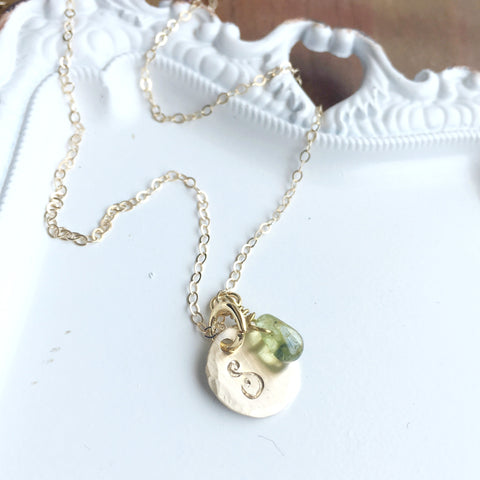 Gold Gemstone & Initial Necklace